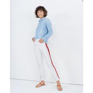 Stovepipe Jeans in Tile White: Tuxedo Stripe Edition