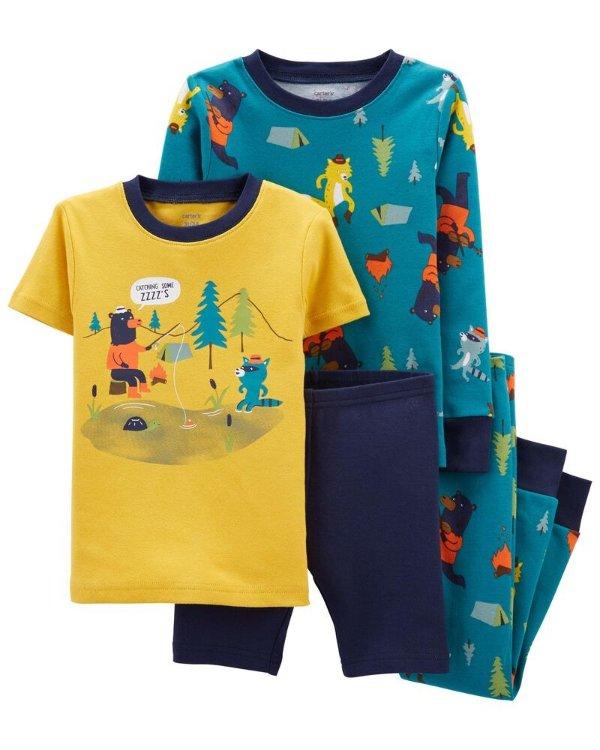 小童露营全棉紧身睡衣4件套