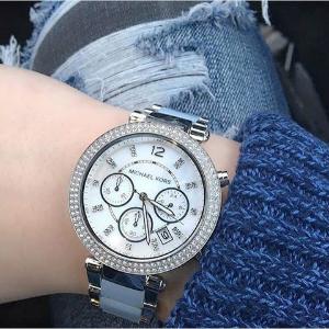 $119 (原价$295)独家:Michael Kors Parker 镶钻珍珠母贝水晶时装女表