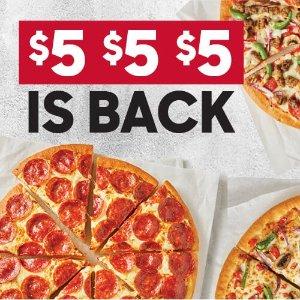 $5披萨活动回归Pizza Hut 必胜客 买一个大号披萨 第二三四个披萨仅需$5