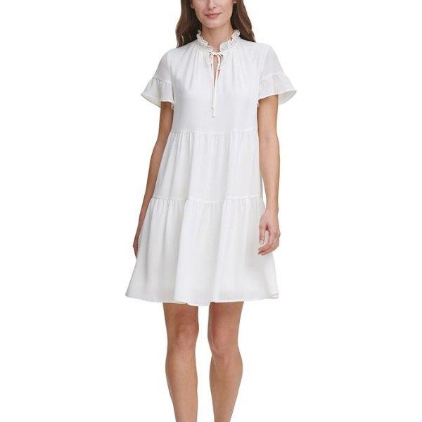 小飞袖连衣裙