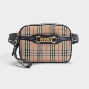 BurberryThe Link Bum Bag in Vintage Check Cotton and Black Leather
