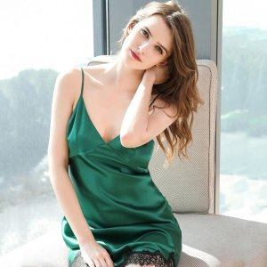 High end 19 Momme Silk Slip Dress with Lace Hem Nightgown | Women | 4 Colors
