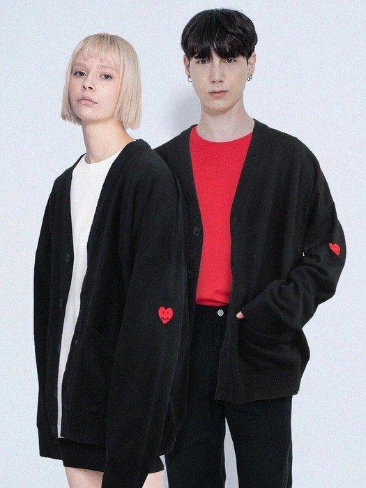 黑色桃心针织外套