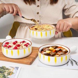 $9.99AQUIVER 21oz 陶瓷汤碗烘焙碗 3个 3色可选