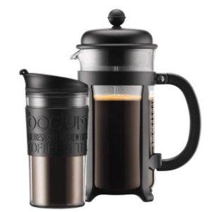 $19Bodum JAVA 法式咖啡压滤壶34盎司 带12盎司旅行杯套装