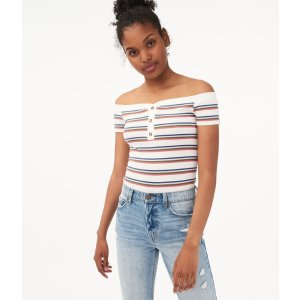 AeropostaleSeriously Soft Striped Off-The-Shoulder Henley Bodycon Top