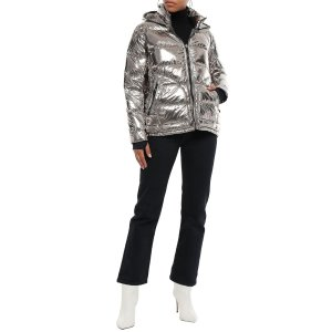 Metallic quilted shell hooded down jacket