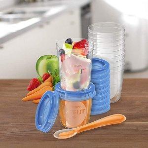 折后€17.16收20只 2种尺寸Philips Avent 新安怡婴儿食物存储杯 密封杯盖更安心