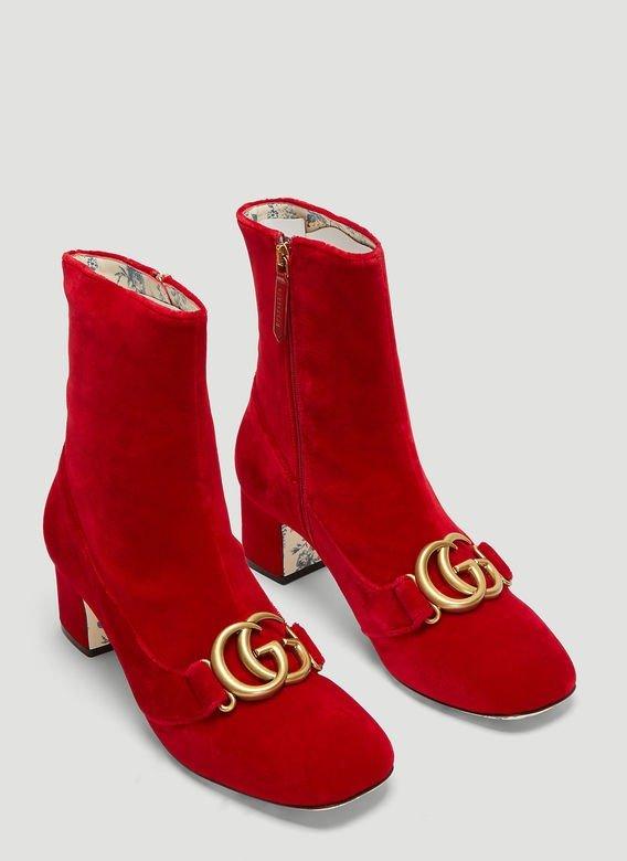 GG Logo 丝绒小红靴