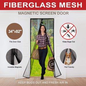 Magnetic Screen Door With Durable Fiberglass Mesh Heavy Duty Reinforced Mesh  Door Screen With Magnets U0026