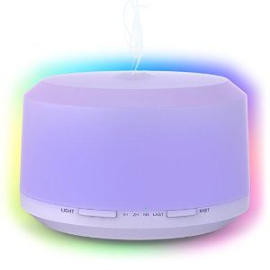 $8Essential Oil Diffuser 450ml Aromatherapy Diffusers For Essential Oils Neloodony Cool Mist Humidifiers With 8 Color LED Lights,Waterless Auto Shut-off,Adjustable Mist Mode & 4 Timer Setting For Home