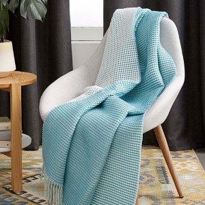 Simons Maison130 x 150厘米 蓝色华夫格毯子