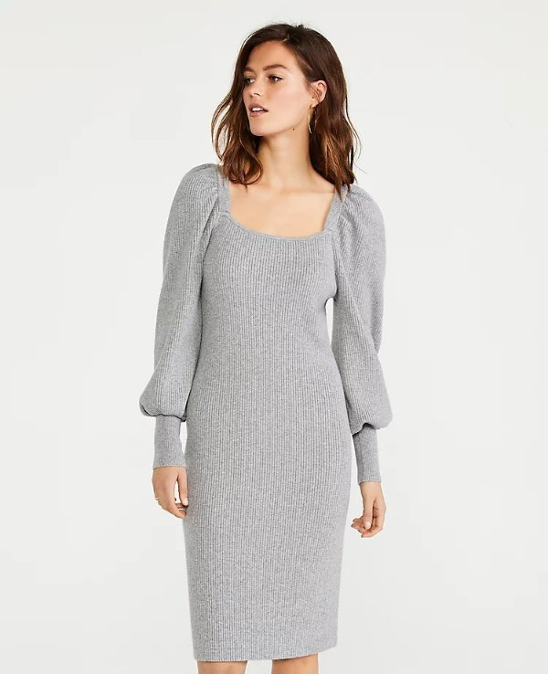 泡泡袖毛衣裙