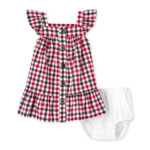 The Children's PlaceBaby Girls Americana Short Sleeve Gingham Woven Ruffle Dress And Bloomers Set