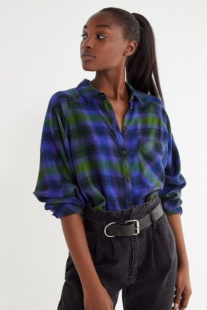 Urban Outfitters UO Brendan Drapey Flannel Button-Down Shirt