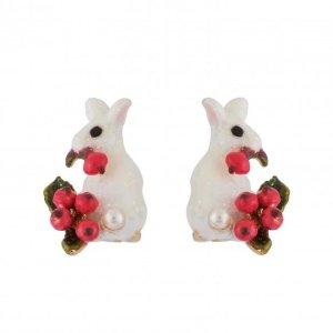 Les NereidesSnow Rose Glittered White Rabbit and Red Berries Clip Earrings