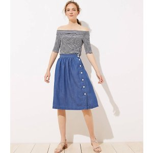 LOFTSide Button Chambray Skirt | LOFT