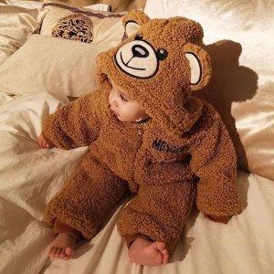 Moschino泰迪熊图案绒绒连体服
