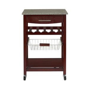 $49Linon Granite Top Espresso Kitchen Cart