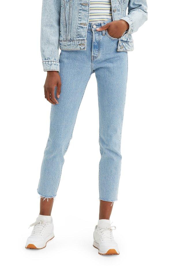 高腰紧身牛仔裤