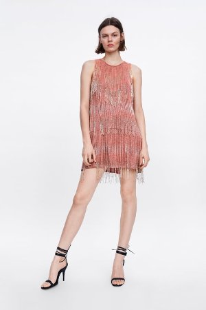 LIMITED EDITION FRINGED DRESS - Pink-DRESSES-WOMAN | ZARA United States