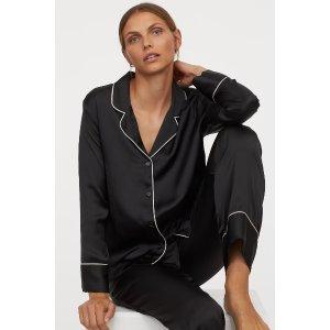 H&M会员额外8折~缎面睡衣套装