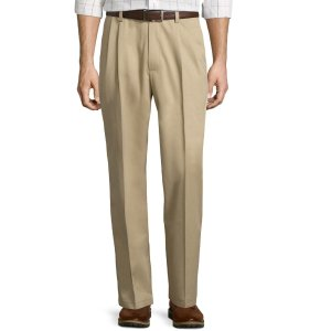 $9.36 (Org.$12.49)Easy-Care Pleat-Front Pants @ JCPenney