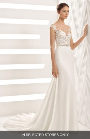 Rosa Clará Astrid Lace & Georgette Trumpet Gown | Nordstrom
