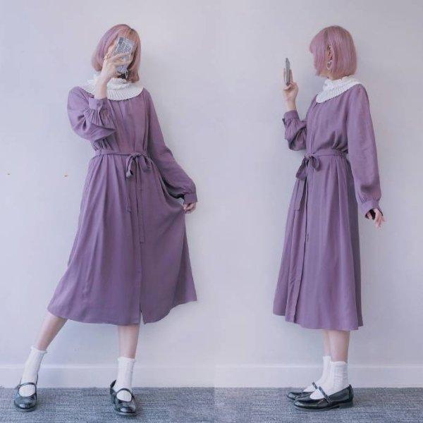 莓子色长裙
