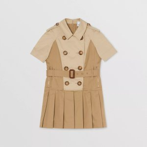 BurberryTwo-tone Stretch Cotton Belted Trench Dress