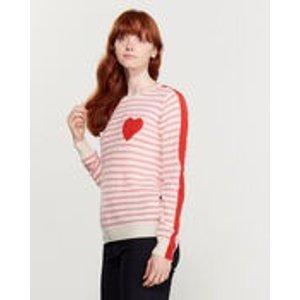 Striped Heart Cashmere Sweater