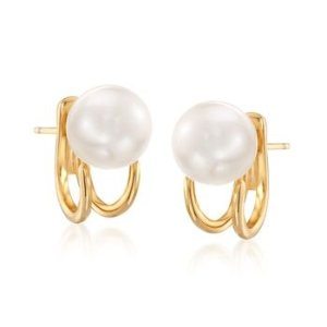 18kt Gold Over Sterling Jewelry Set: Front-Back Jackets and 8-8.5mm Shell Pearl Earrings | Ross Simons