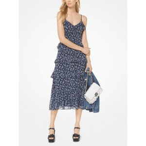 Michael KorsRuffled Floral Georgette Dress