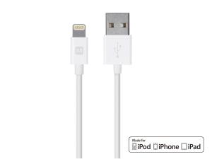 $12 (原价$14.7)Monoprice MFi 认证 Lightning to USB 充电数据线 10英尺 两根