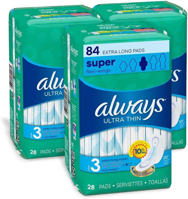 超薄3号加长卫生巾 无香28片 x 3包