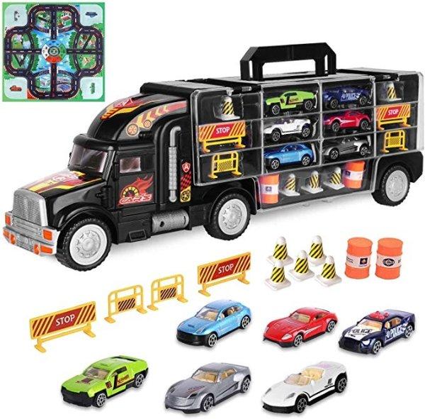 运载卡车,包含6辆小汽车