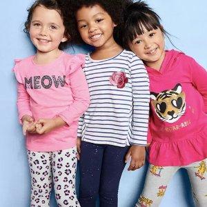 T恤$2.99 紧身裤$4.99OshKosh BGosh 童装清仓加入百多新款,包括情人节款