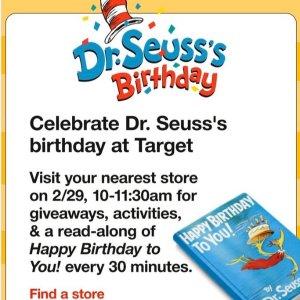 免费参加Target 店内 Dr.Seuss's 生日庆祝活动