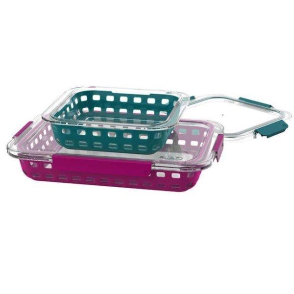 玻璃烘焙烤盘+防漏盖子 4件套