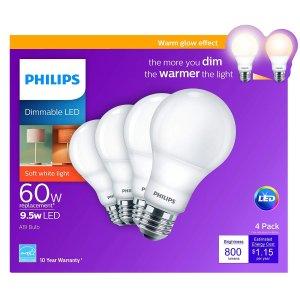 $5.38 近期好价Philips A19 可调光暖光LED灯泡 E26 4支装