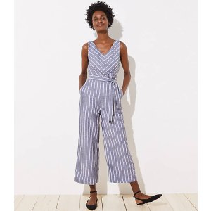 LOFTStriped Tie Waist Jumpsuit | LOFT