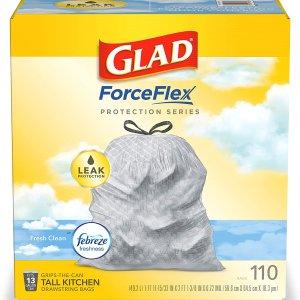 $14.23(原价$23.8)Glad OdorShield 13加仑垃圾袋 110个 结实耐用 香气清新