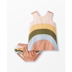 Hanna AnderssonBaby Rainbow Apron Dress & Bloomer Set In Cotton Muslin