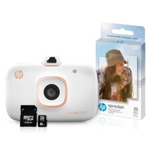 $59.95HP Sprocket 2-in-1 Portable Photo Printer & Instant Camera Bundle with 8GB MicroSD Card and Zink Photo Paper