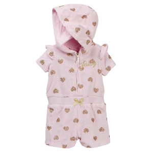 2eaf8cc882 Juicy CoutureBaby Pink Glitter Heart Print Hooded Terry Romper (Baby Girls  3-9M)