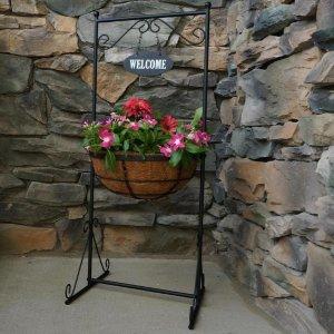 $8.98Patio Life 超值户外铁制花架 带14英寸可可纤维花盆