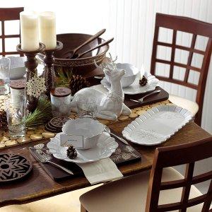 $11.11 官網原價$120白菜價:Lenox Alpine 白色刻花陶瓷餐盤4個