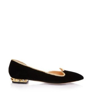 Charlotte OlympiaWomen's Designer Flat Shoes |- BEJEWELLED KITTY D'ORSAY