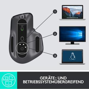 可以连接3台设备Logitech, MX Master 3 无线蓝牙鼠标